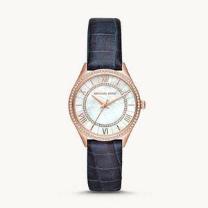NWT MK Mini Lauryn Three-Hand Blue Leather Watch
